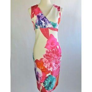 Joseph Ribkoff Floral Bodycon V Neck Dress -Size 8